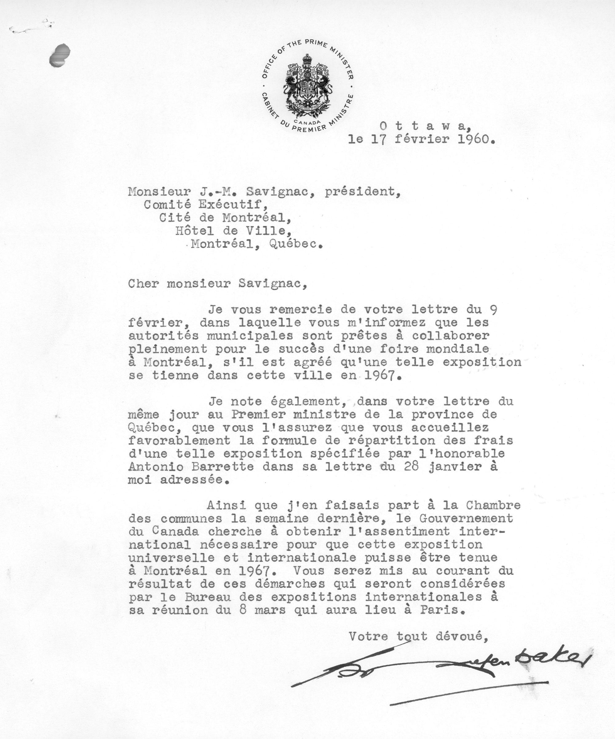 Lettre du premier ministre du Canada, John Diefenbaker.VM1-3-2-11781-1-02